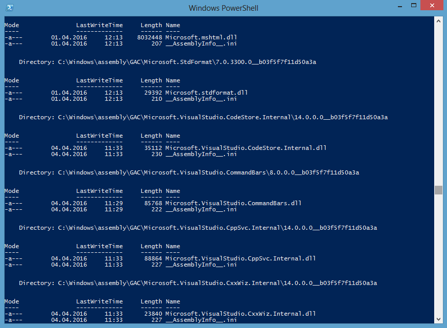 Direcotry Listing PowerShell
