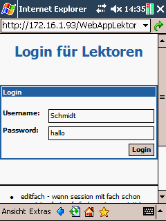 PDA Version Login
